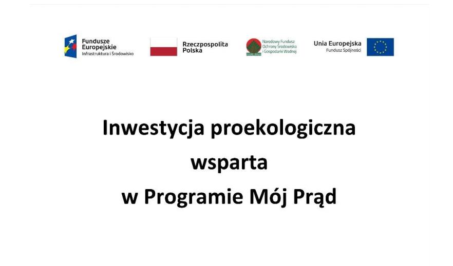 Wzór tabliczki informacyjnej w programie Mój Prąd 3.0., źródło:mojprad.gov.pl